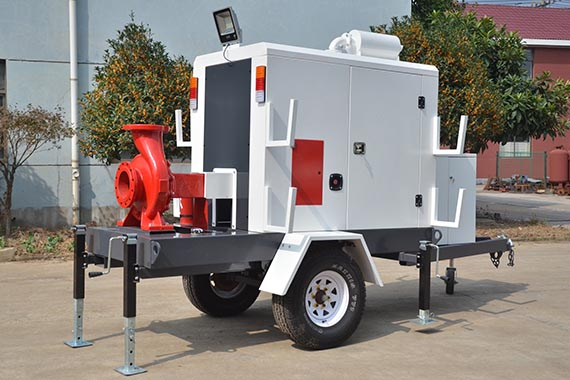City flood control mobile rescue drainage trailer pump